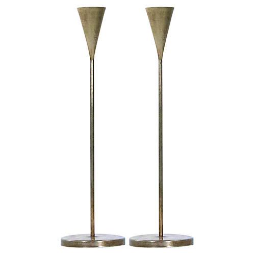 S/2 Short Aalis Candleholders, Brass
