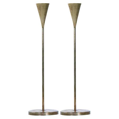 S/2 Short Aalis Candleholders, Brass