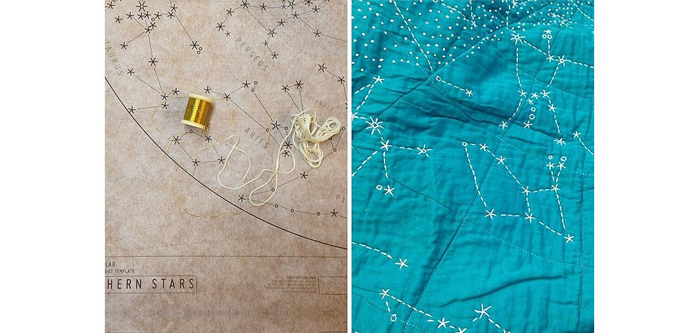 A detailed sketch of the constellations in the night sky is used as a guide for Emily, who hand-stitches the entire quilt with gold threads.