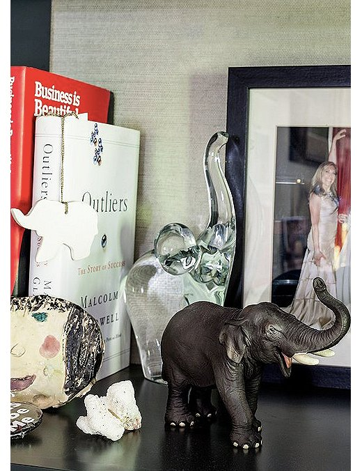 Susan's collection of elephants from her home office tour.