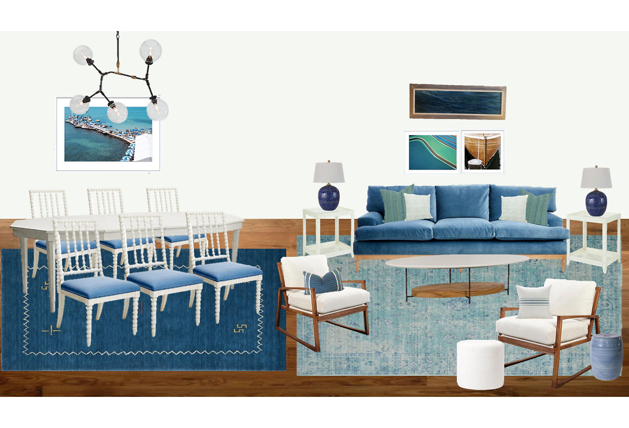 A moodboard Shannon created to show her vision for a client's apartment