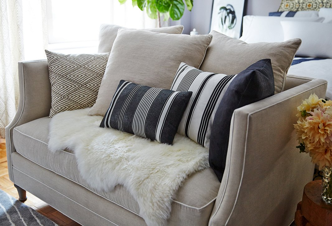 Small space makeover a 400 square foot apartment one kings lane - Couches for small apartments ...