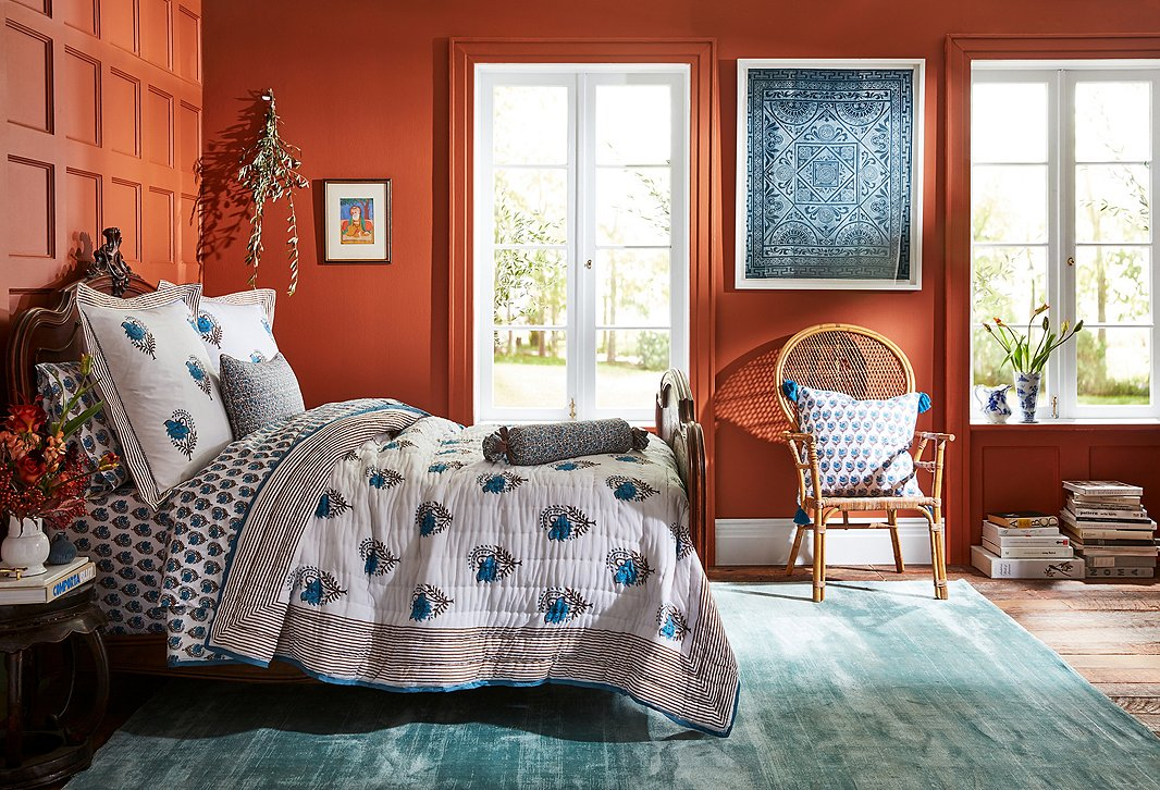 Roller Rabbit for One Kings Lane features sheets, pillows, and more in the brand's signature block-printed designs.