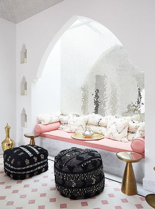 A glamorous Moroccan-inspired niche elsewhere on the property.