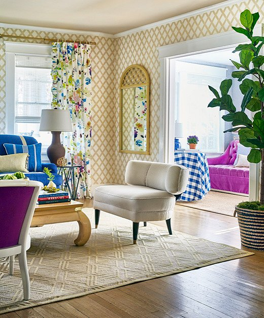 Christian Fischbacher's Midsummer Day fabric laid the groundwork for the home's color palette. Virginia took inspiration from the mix of blues, purples, and greens every chance she could.