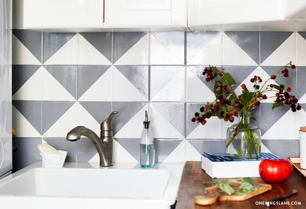 Paint Backsplash Tile Painted Tile Backsplash Diy  One Kings Lane  Style Blog