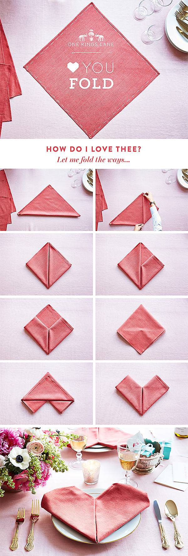 Your step by step guide to a heart napkin fold for 10 easy table napkin folding