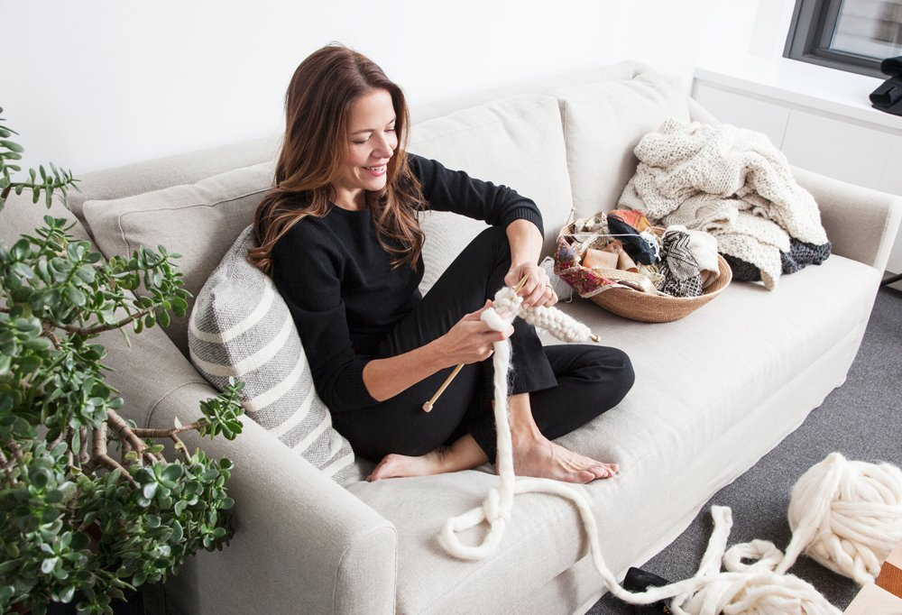 She doesn't get much downtime, but this raw cashmere—which Amy pulled herself into a thick knit-able yarn—is at the ready whenever she can pick up the needles.
