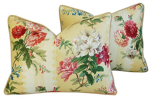 Brunschwig & Fils no longer produces its Sybella floral print, but the fabric can still be found on vintage pillows and upholstered furniture.