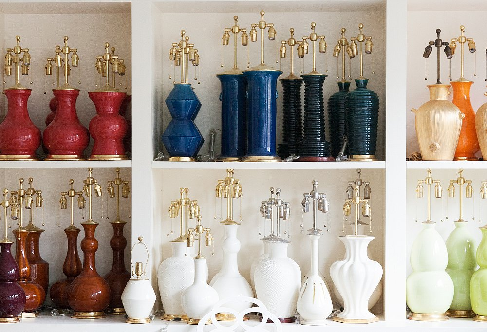 Shelves of finished lamps at Spitzmiller's showroom ready to delight a client.