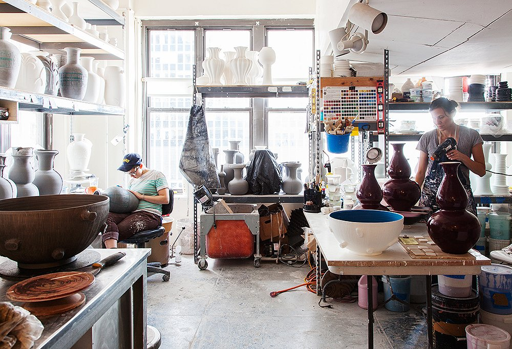 The 3,000-square-foot studio, where the lamps take six to eight weeks to create.