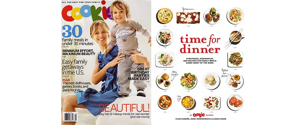 """The April 2008 issue of Cookie magazine and the cover of the cookbook Pilar coauthored, Time for Dinner. """"Cookie was part of giving a voice to what it means to be a modern mother,"""" she says."""