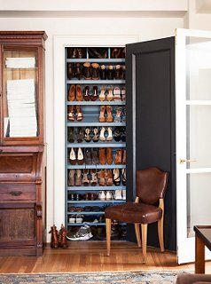 Michelle Smith converted this closet in her living room into the perfect perch for shoes. & Qu0026A: Living Room Layouts and Shoe Storage