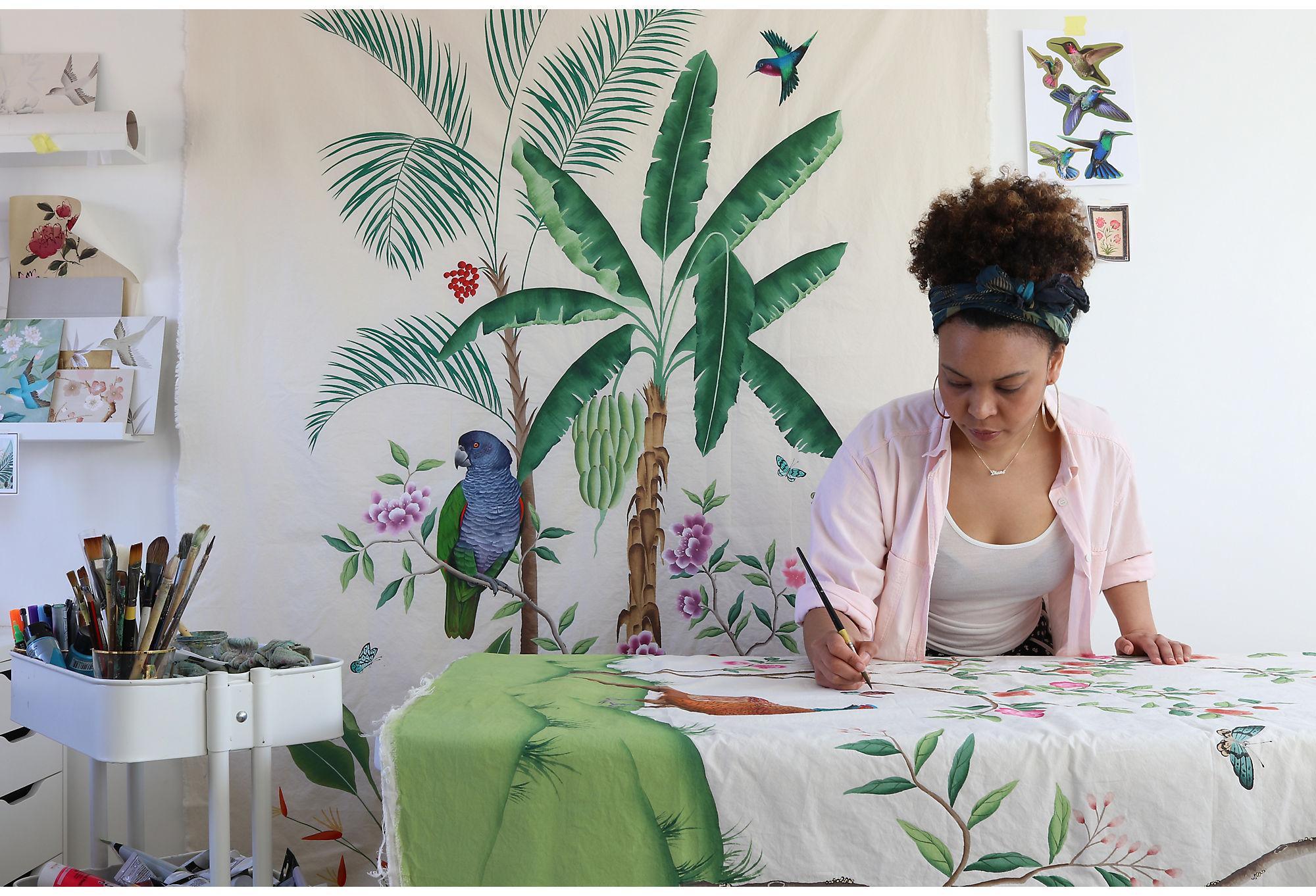 Artist Diane Hill at work
