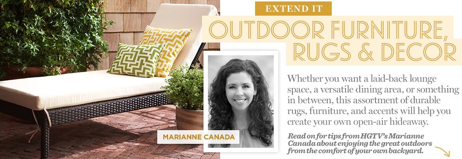 Extend It: Outdoor Furniture, Rugs & Decor