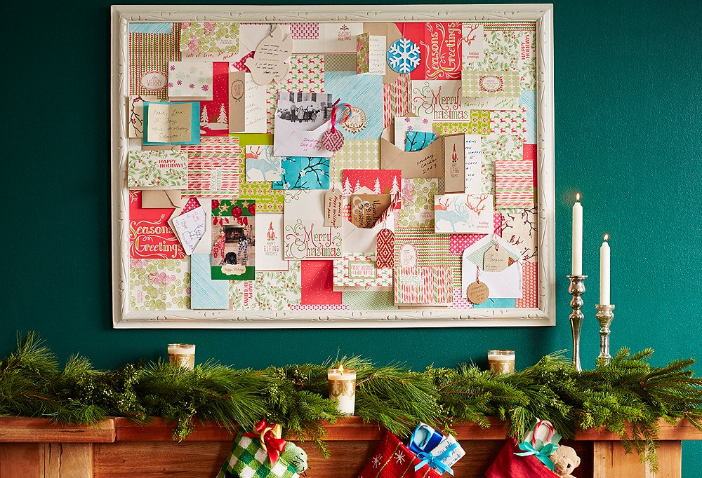 New twists on the holiday card display - Christmas card display ideas ...