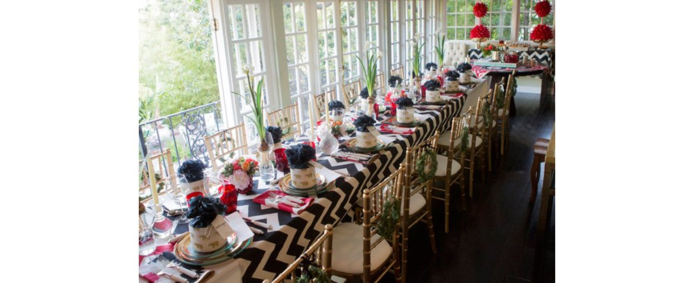 The full table, set and ready for guests to arrive!