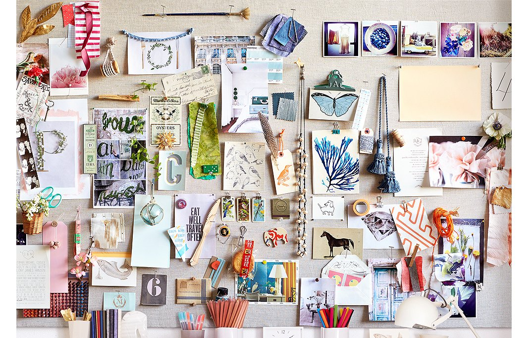 A mix of clippings, objects, and snapshots will keep you inspired.