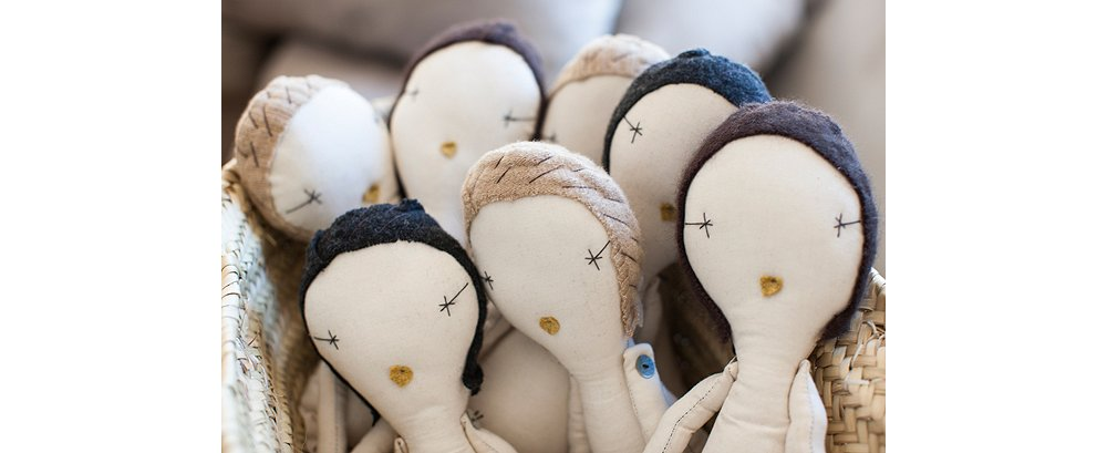 A group of Brown's dolls ready for their custom clothing.