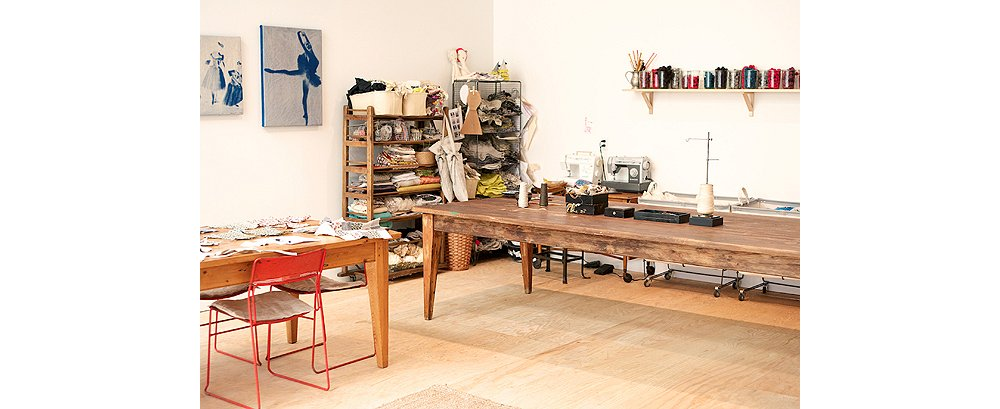 Brown's Petaluma, CA, studio is filled with the found bits of fabric that she uses to create clothing for her dolls.