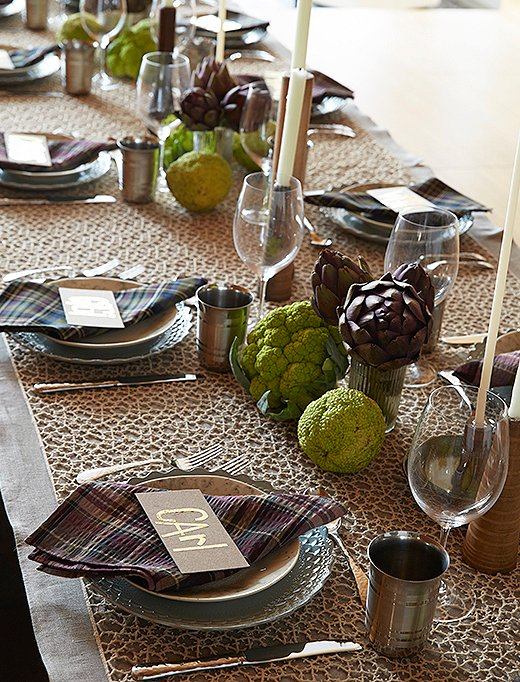 Even when the color palette is pretty toned down, Lela uses texture to create an eye-catching table.