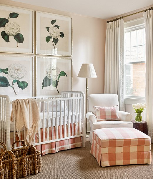 Lauren bolted oversize floral prints to the wall above the crib to make a statement with traditional flair.
