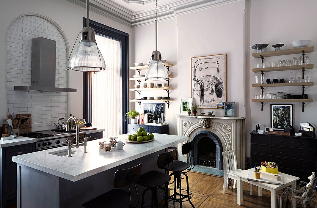 We're in love with the kitchen designed for Anne Hathaway's character, Jules. The moldings of the actual Brooklyn brownstone that served as the set for the movie were already painted a soft gray.