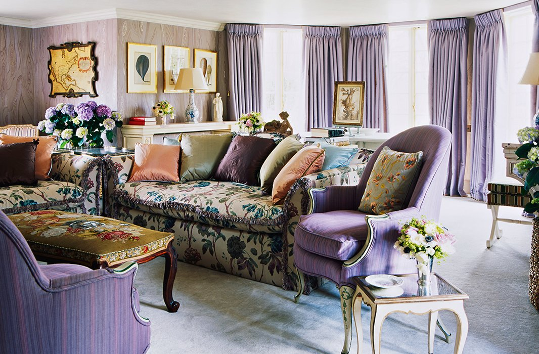 "Haslam tempered the lilac scheme in this sitting room with ""various accent colors and patterns [to] prevent it from looking overly sentimental."""