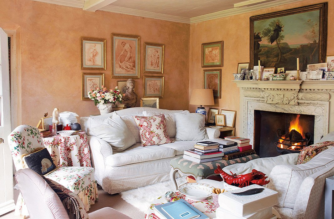 In Haslam's sitting room in his country home, his beloved sofas take center stage.