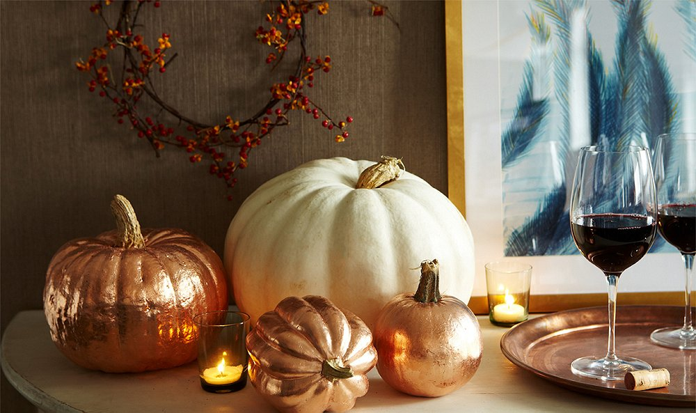 Dress Up Your Pumpkins with Copper Leaf