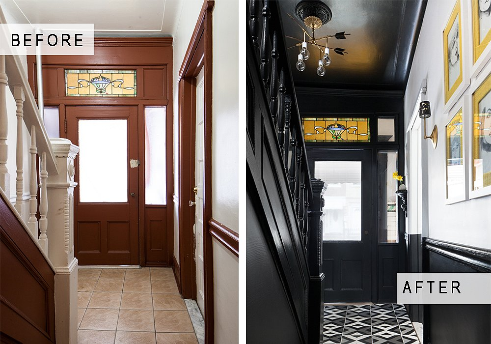 Small House No Foyer : An entryway makeover in black and white one kings lane