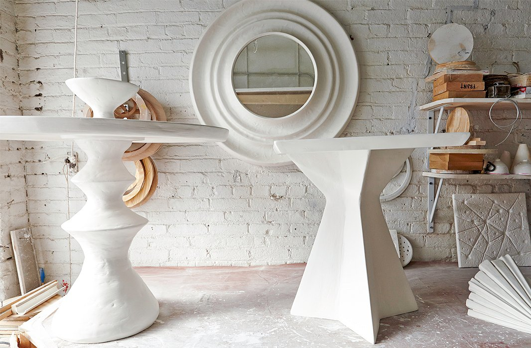 Antonson's plaster creations include furniture, mirrors, and lighting.