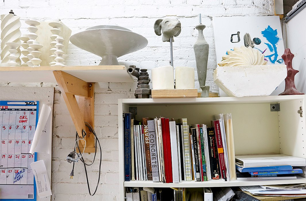 Antonson's obsession with art and design books is evident in his studio.