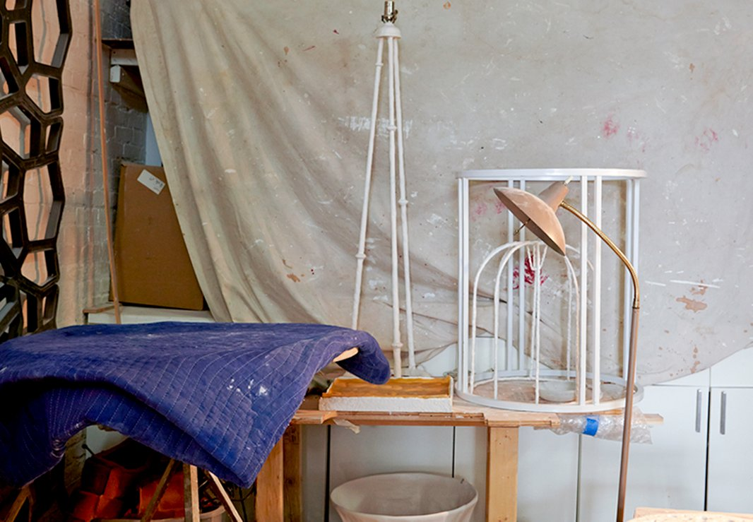A few of Antonson's creations drying in the studio.