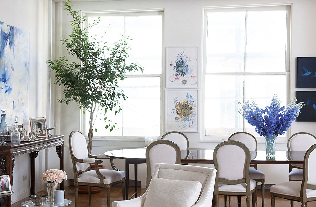 Chantecaille takes a refreshingly casual approach to placing serious pieces of art. On two narrow strips of wall space in the dining room, she hung works by Julie Combal (painting at left), Ryan McGinness, and a pair of bird paintings by Ross Bleckner, all art-world luminaries.