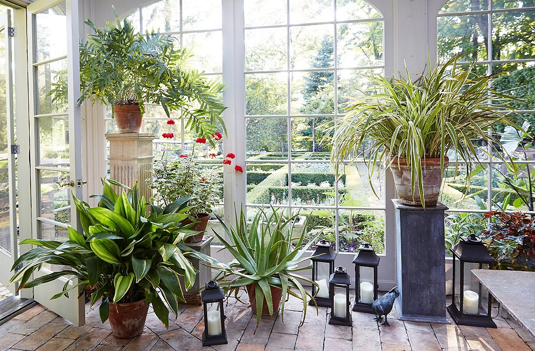 Pedestals in a mix of heights and materials elevate a plant display in a classic sunroom. Photo by Tony Vu.