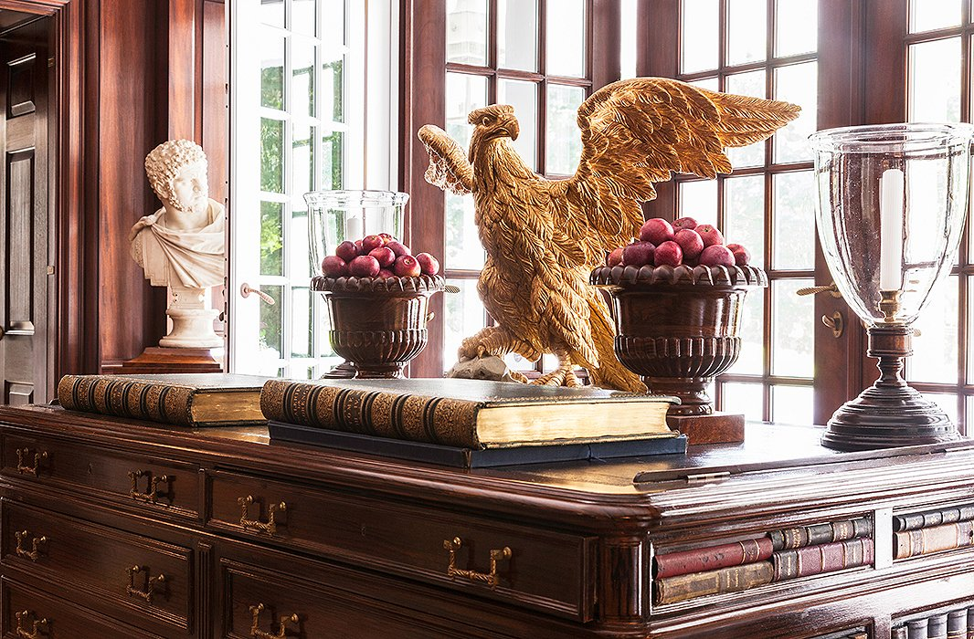 An English Library Desk Is Topped With Leather Making It Ideal For Reading The Antique