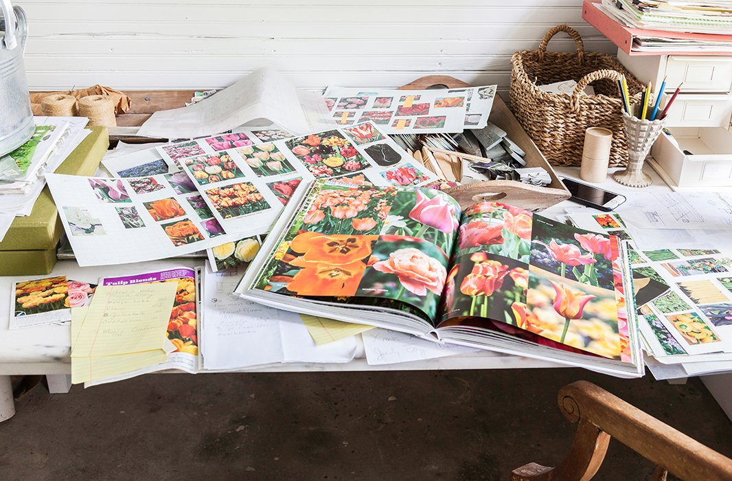 The lush illustrations in At Home in the Garden take one through the seasons in Weatherstone's gardens, from the peak spring flower season to the lovely whites of winter.