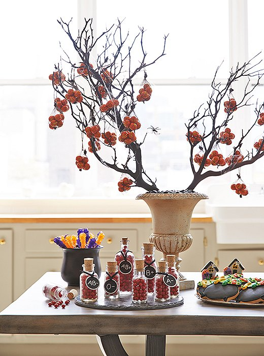 For a spooky and stylish display, Dylan opted for a weathered urn with web-entangled branches.