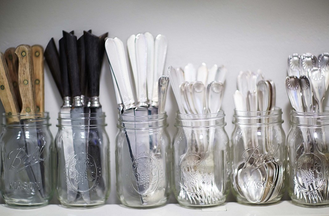 Heather's collection of flatware includes antique silver pieces collected at the Paris brocantes.