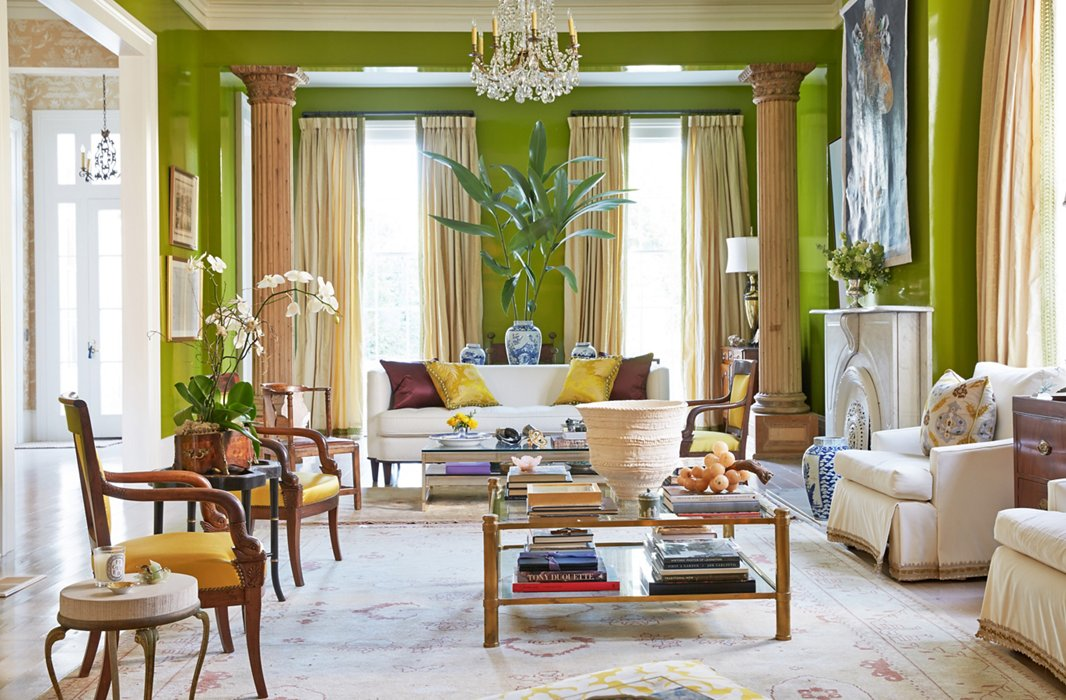 In the New Orleans home of luxury-linens maven Jane Scott Hodges, zingy chartreuse walls make a bold statement—but thanks to the room's ample natural light, the color doesn't overwhelm. Photo by Tony Vu.