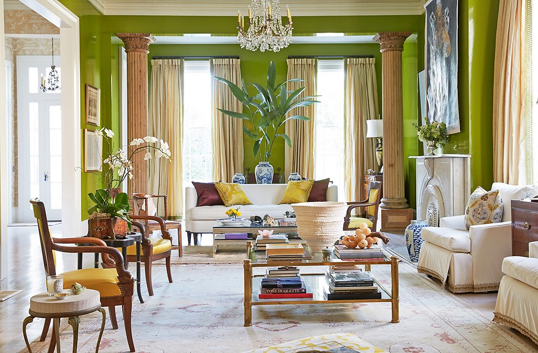 In The New Orleans Home Of Luxury Linens Maven Jane Scott Hodges Zingy Chartreuse