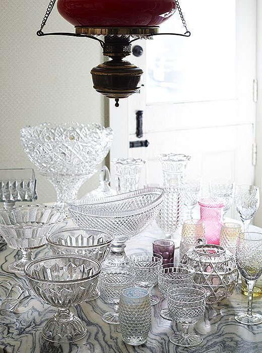 Jeffrey finds every opportunity to break out his collection of crystal and glass American stemware, which includes cut-crystal bowls and water goblets.