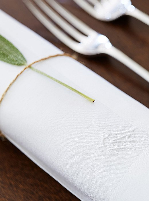 """Jeffrey is an avid collector of vintage monogrammed linens. """"They're increasingly difficult to find and one of the most undervalued components of any place setting and table."""""""