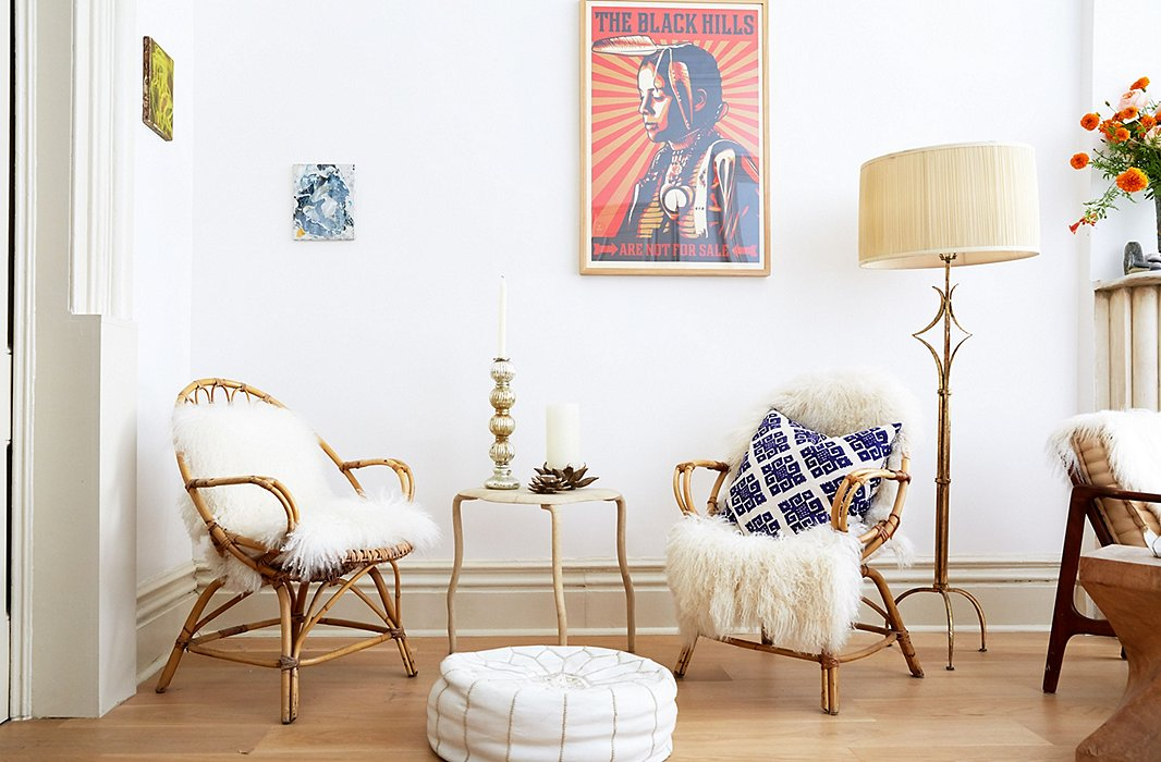 "Kelly chose white for almost everything—""it has good energy, gives a feeling of lofty, lifted space""—and loves the natural, grounding feel of rattan, wicker, and bamboo."