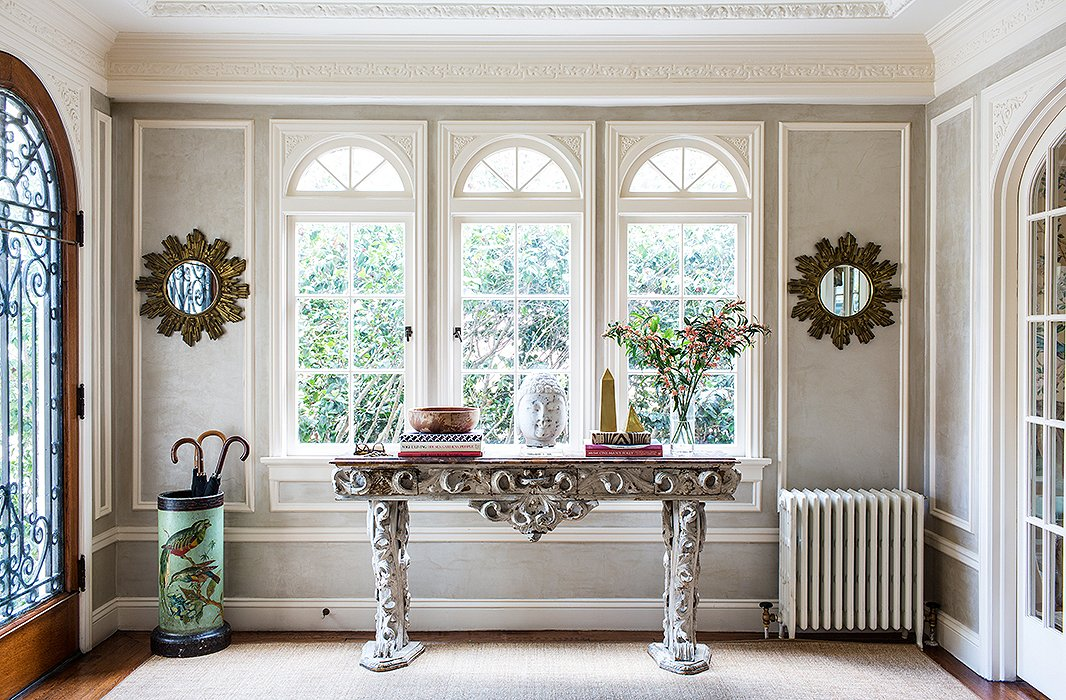 The intricately crafted table, purchased from a London antiques dealer, is among Bachmann's most prized pieces.