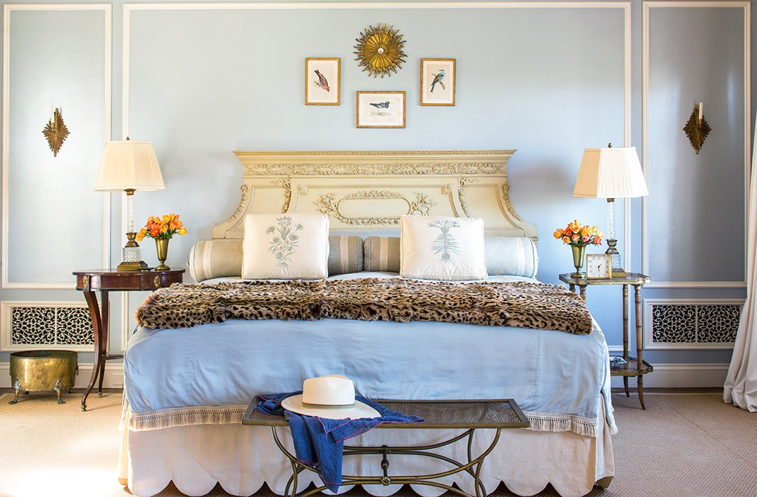 "Layered bedding (and a little more leopard, of course) give the room its luxurious feel. ""Living with lots of layers makes a space feel like a home rather than a showplace,"" says Bachmann."