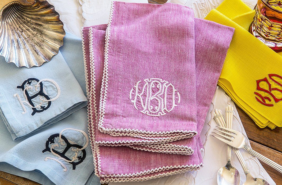 "Bachmann has never met a monogram she didn't love. ""I have multiple sets of napkins and monogrammed shades in two bedrooms,"" she says. ""I think it must be a Southern thing."""