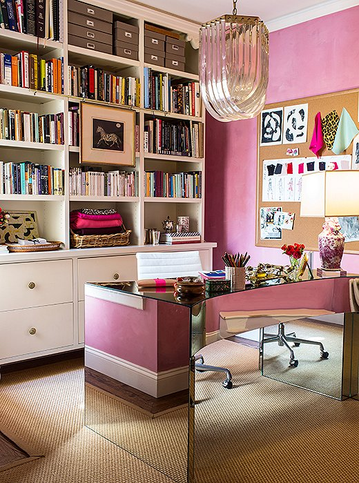 Bachmann's girly-glam side is given free rein in her home office, where her designs for Kim and Proper take flight.