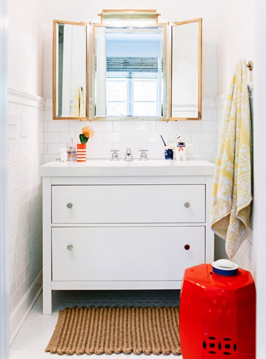 One Red Garden Stool Creates The Major Pop Moment In The Kids Bathroom